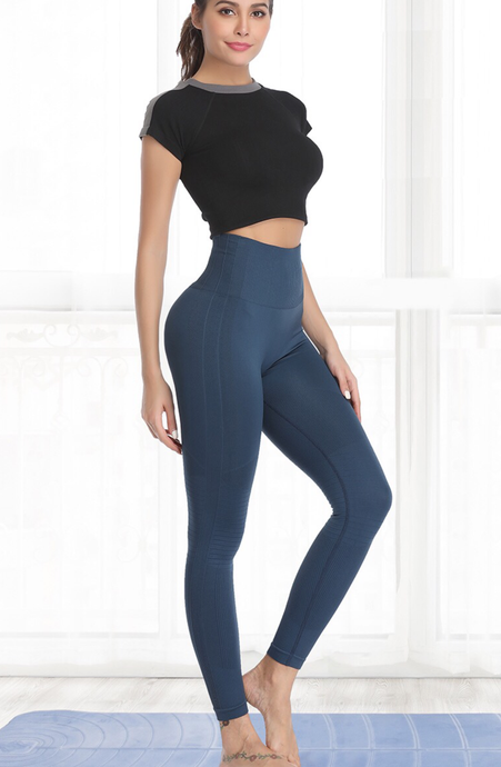 High Waisted Elastic Tummy Fitness Leggings - Dcoup.com