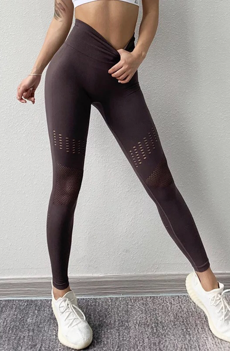 Hollow Out Tummy Control Legging - Dcoup.com