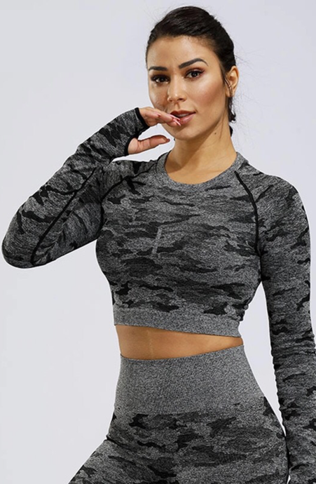 Black Camo Seamless Long Sleeve Crop Top - Dcoup.com
