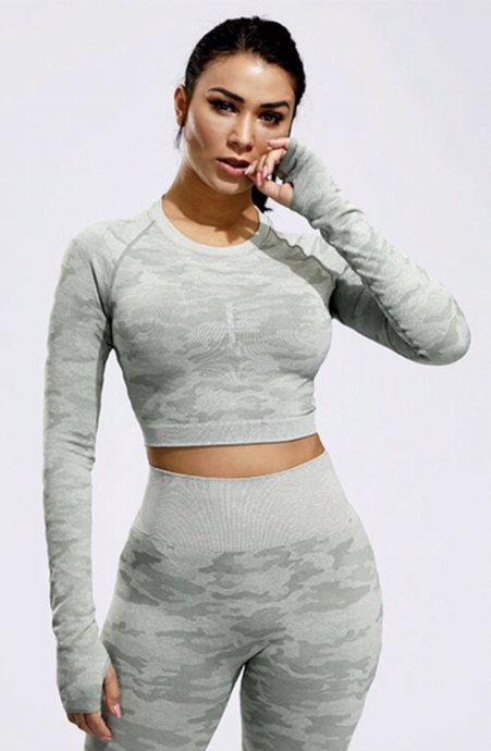 Green Purple Camo Seamless Long Sleeve Crop Top - Dcoup.com