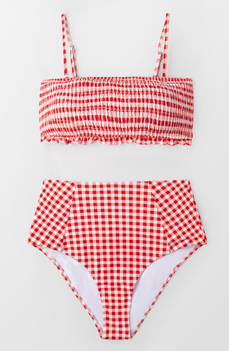 Gingham Smocked Bandeau Bikini Set - Dcoup.com