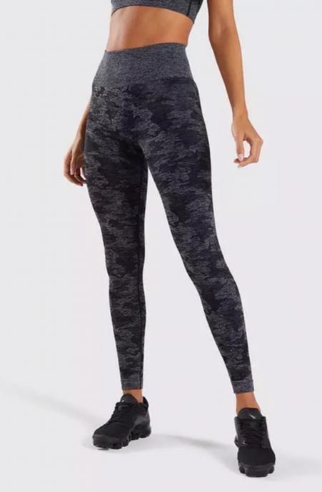 Black Seamless Camo Leggings - Dcoup.com