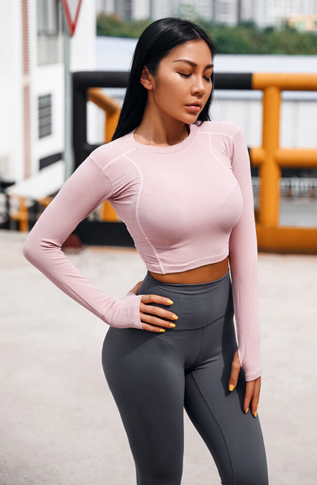 Happiness Long Sleeve Crop Top
