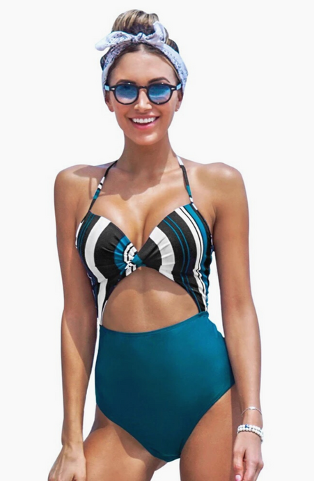 Stripe Twist One Piece Swimsuit