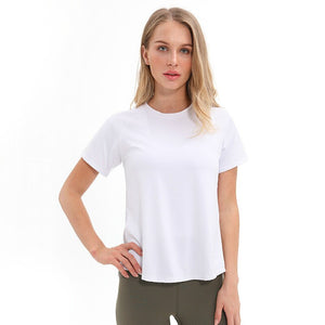Back Mesh Patchwork Fitness T-shirt - Dcoup.com