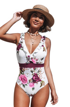 Load image into Gallery viewer, Ruffled Floral Criss Cross One Piece Swimsuit