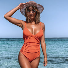 Load image into Gallery viewer, Orange Shirring One-Piece Swimsuit