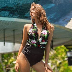 Floral Halter Neck One Piece Swimsuit