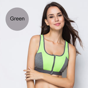 Zipper Push Up Shockproof Sports Bras