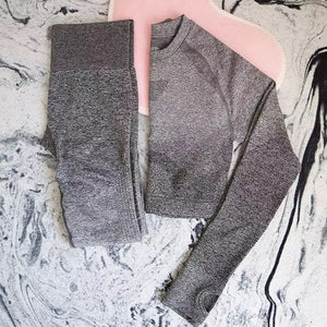 2 Piece Yoga Set  Legging+Cropped Shirt - Dcoup.com