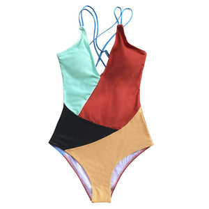 Color Block Open Back One Piece Swimsuit