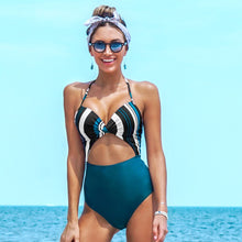 Load image into Gallery viewer, Stripe Twist One Piece Swimsuit
