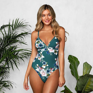 Floral Lace Up Back One Piece Swimsuit
