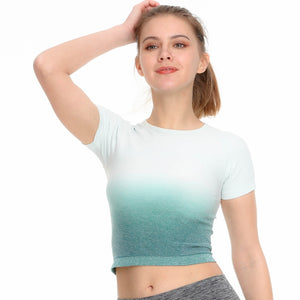 Seamless Short Sleeve Sport Crop Top - Dcoup.com