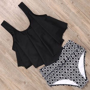High Waist Tankini Bikini Set - Dcoup.com