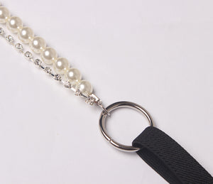 Pearl Beading and Diamond Suspenders - Petite Treason