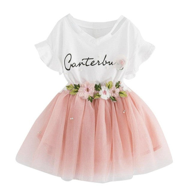 Girls Clothing Sets New Summer lovely letter Printed T-Shirts+Flower