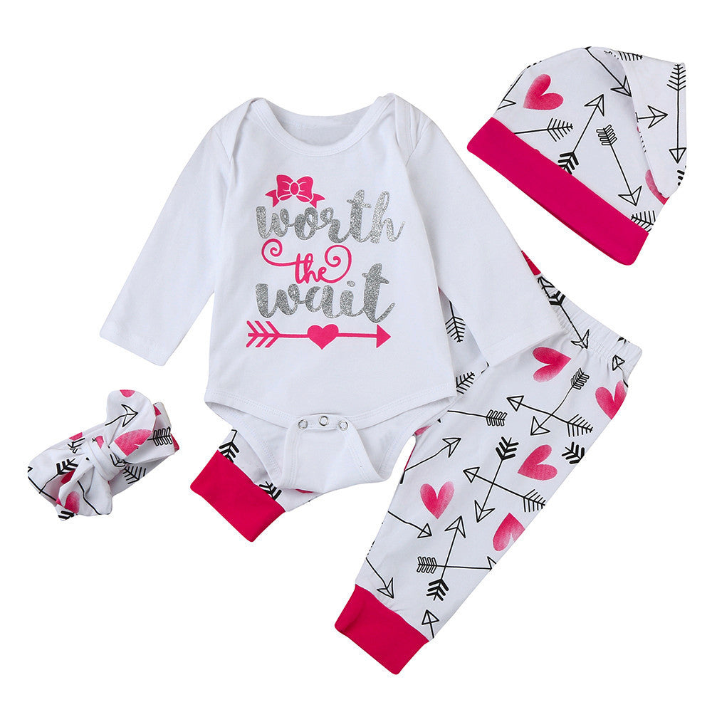 4Pcs Newborn Baby Girls Clothing Set Worth the Wait Leter Print