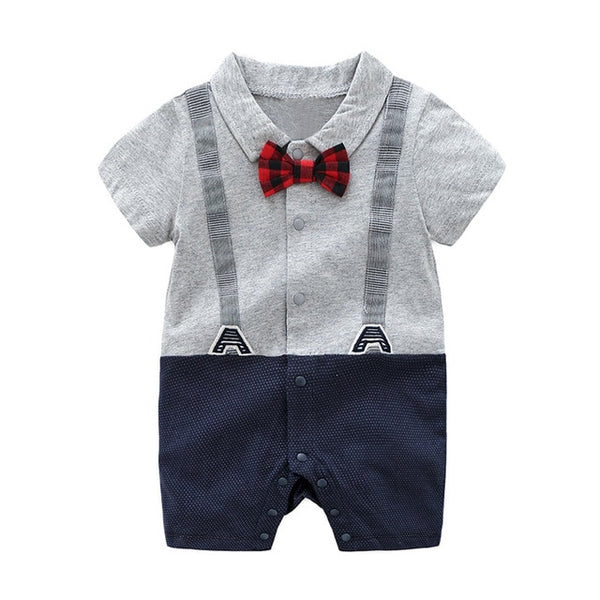 Bear Leader Baby Boy Romper Cotton Short Sleeve Kids Clothes Patchwork Baby Rompers Gentleman Boy Romper Infantil baby Clothe