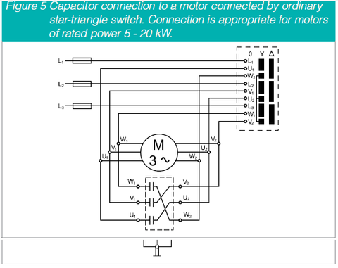 PFC Cap connection to a motor conected by ordinary star-triangle switch