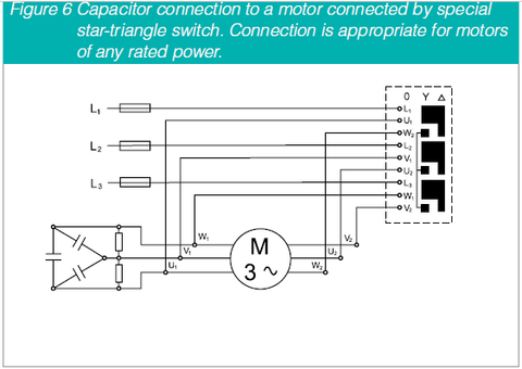 PFC Cap connection to a motor conected by special star-triangle switch for motors of any rated power
