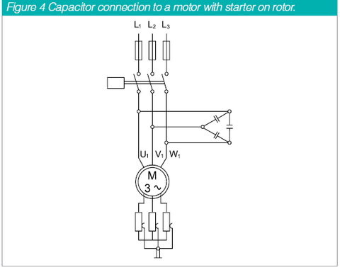 PFC Cap connection to a motor with starter on rotor