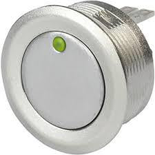 1241.3011 PSE NO 27, Piezo Momentary Switch Metal with Green with Red Point Illumination, 100mA @ 42-48VDC, 24VDC Illumination Supply 20 Million Ops-Disconnect Switch-Schurter-Fastron Electronics Store