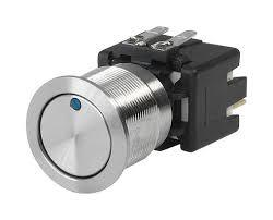 1241.6824.1114000 MSM LA 19mm, Pushbutton Switch Metal with Blue Ring Illumination, 12Amp @ 250VAC, 30VDC, 5-28VDC Illumination Supply, 0.5 Million Ops