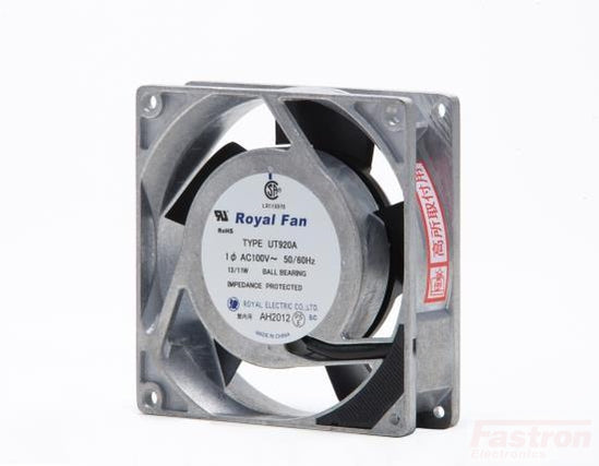 UT921A, 92mmx25mm Coooling Fan, 115VAC, 13/11W, Impedance Protected Ball Bearing Fan