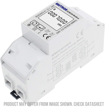 SDM230Modbus-MID-CL1, DIN Rail Mount kWh Meter, Single Phase, 240VAC aux, Class 1, 100Amp Direct Connect, w/ 2 x pulse outputs and RS485 Modbus RTU Comms, MID Approved