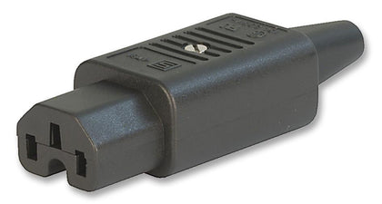 4781.0100, IEC Appliance Plug C15, Rewirable, Black, for 3 x 1.5m sqr/14AWG Maximum wire size, 10mm Type
