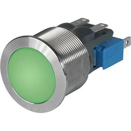1241.8449 MSM CS 19mm, Momentary Pushbutton Latching Switch Metal with Green 5-28VDC Illumination, 10Amp @ 250VAC, 0.5 Million Ops