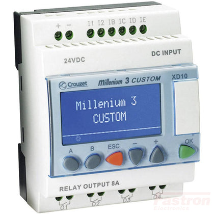 Crouzet Automation Programmable Logic Controller 88974142, Millenium 3 Essential XD10-6I/4O S, 6 x On/Off inputs, Incl 4 analogue inputs, 10 Static Solid State outputs incl 1 x PWM output, 24 VDC FE-88974142