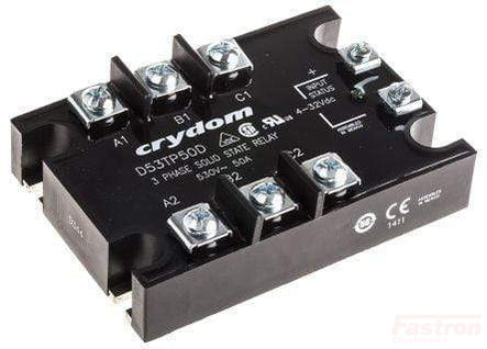 D53TP25D, Solid State Relay, 3 Phase 4-32VDC Control, 25A, 48-530VAC Load, LED Status Indicator