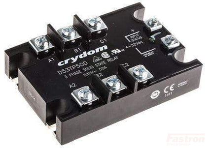 Crydom - Sensata 3 Phase SSR D53TP25D, Solid State Relay, 3 Phase 4-32VDC Control, 25A, 48-530VAC Load, LED Status Indicator FE-D53TP25D