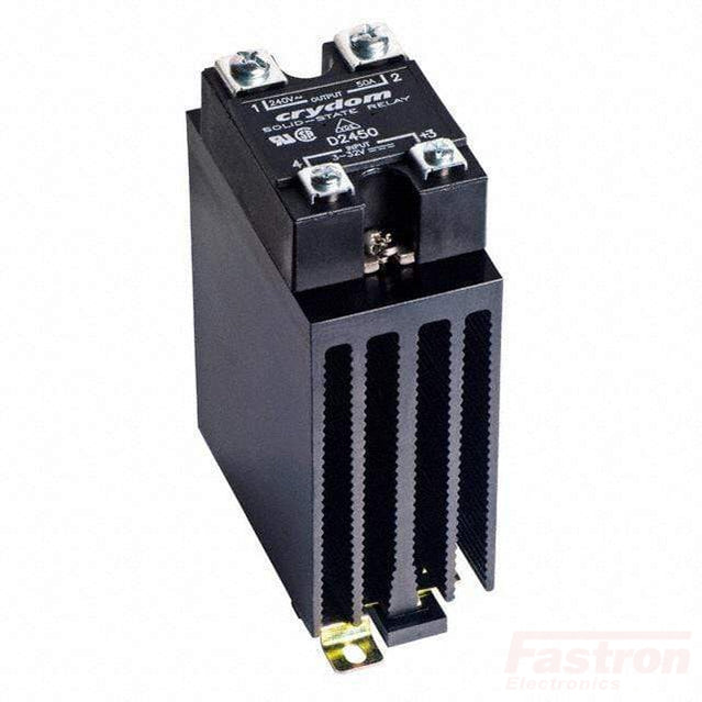HS151DR + D1D80, Din Rail Mount DC Solid State Relay, with Heatsink 3-32VDC control, 58A @ 40 Deg C, 100VDC Load