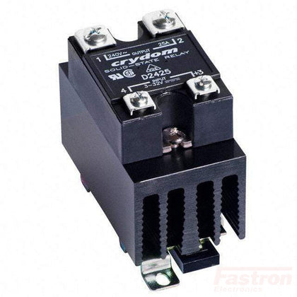 Crydom - Sensata Solid State Relay Heatsink Assembly AC Load HS301DR + D2450-10, Panel or slide on Din Rail Solid State Relay,, 3-32VDC Control Input, LED Status, Random Cross, 24-280VAC Output, 23 Amps FE-HS301DR + D2450-10
