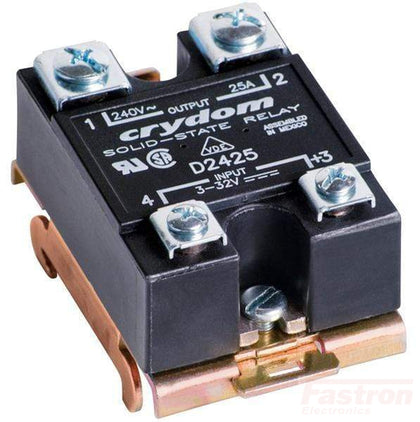 Crydom - Sensata Solid State Relay Heatsink Assembly AC Load HS501DR + D2450-10 Single Phase Solid State Relay,, 3-32VDC Control Input, Random Crossing, LED Status Indicator, 24-280VAC Output, 10 Amps Panel or Din Rail Mount FE-HS501DR + D2450-10