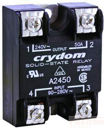 A2450E, Solid State Relay, Single Phase 18-36VAC Control, 50A, 24-280VAC Load