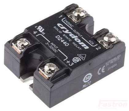 Crydom - Sensata SSR AC Load D2440, Solid State Relay, Single Phase 3-32VDC Control, 40A, 24-280VAC Load FE-D2440
