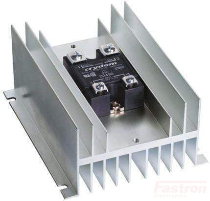 HS072 + D2490, Solid State Relay, with Panel Mount Heatsink, 3-32VDC Control, 24-280VAC Output, Rated at 65 Amps