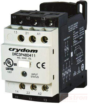 DRC3R48D420, AC Motor Controller & Contactor, 18-30VAC/DC control, 480VAC Load, 2 Solid State NO Aux Contacts, Zero Crossing