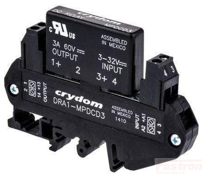 Crydom - Sensata SSR DC Load DRA1-MPDCD3-B, DC Solid State Relay,, 3-32VDC control input, 3A, 3-60VDC output, DIN Rail mount, Normally Closed FE-DRA1-MPDCD3-B