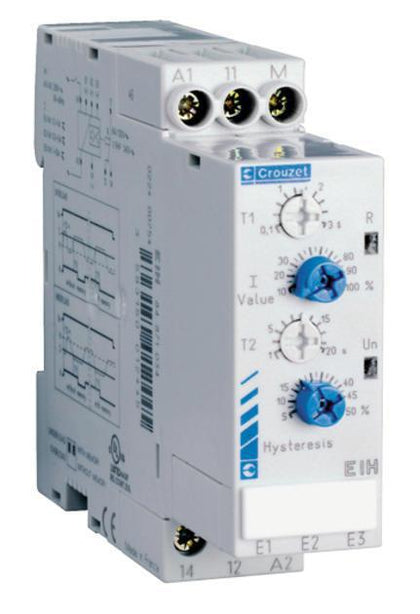 84871034, Current Monitoring Relay with Hysteresis and T2 time Single Phase 0.1 - 10 Amp EIH Series, 100-240VAC/24VDC Supply-Monitoring Relay-Crouzet Automation-Fastron Electronics Store