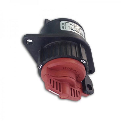HBD41AA, Hermetic Battery Switch with Red Handle, SPST 1 x 400 Amp 1000VDC, Flange Mount 70mm Wide, M10 Terminations, OHSA