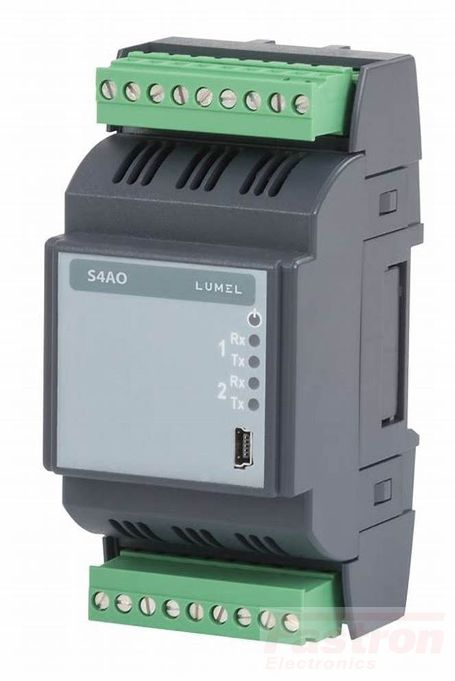 S4AO-1200E0, Module of 4 analog outputs, RS485 Modbus, 24VDC