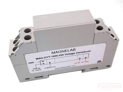 Magnelab Inc DC Voltage Transducer DVT-1000-420, DC Voltage Transducer, Din Rail Mount, 10-1000VDC, 4-20mA output, 15-48VDC Supply Voltage, 10mS Response FE-DVT-1000-420
