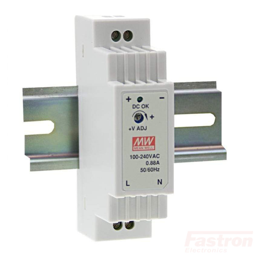 DR-15-24, Universal Din Rail Mount Power Supply, 85-264VAC or 120-370VDC input, 24VDC @ 630mA output