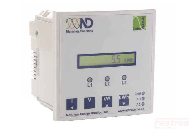 Cube 350-M2-C, Panel Mount kWh Meter, Class 1, 5Amp input, 2 pulse inputs or alarm/pulse outputs, RS485 Comms, Single line LCD Display