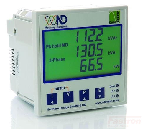 Cube 400-M2-C, Panel Mount kWh Meter, Class 1, 5Amp input, 2 pulse inputs or alarm/pulse outputs, RS485 Comms, Three line LCD Display